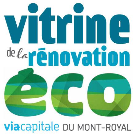 Vitrine écologique dans une agence immobilière à Montréal.